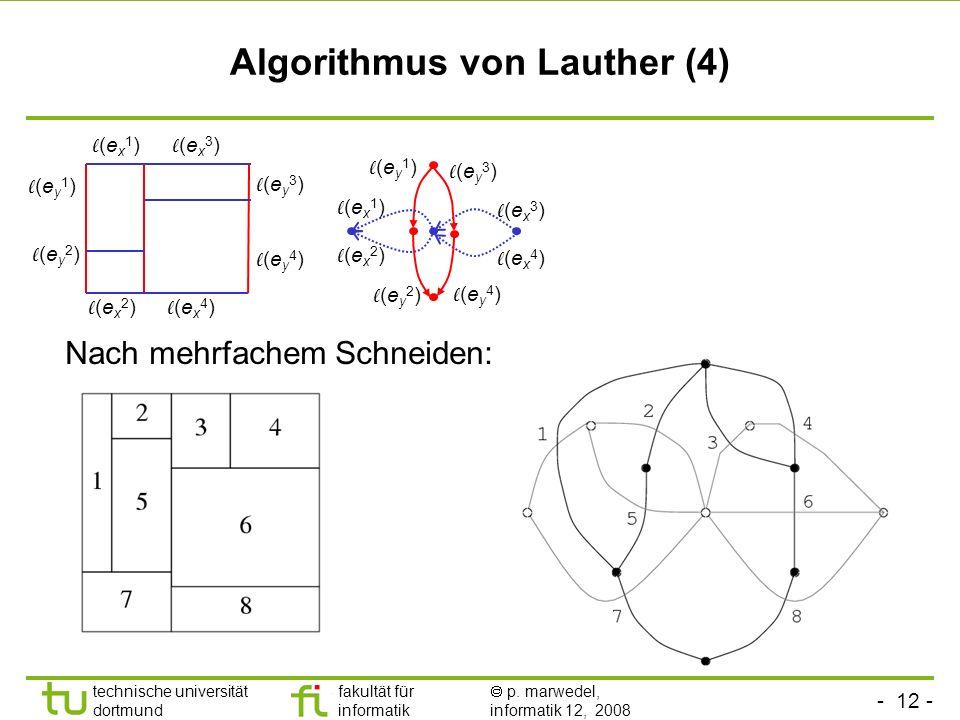 - 12 - technische universität dortmund fakultät für informatik p. marwedel, informatik 12, 2008 TU Dortmund Algorithmus von Lauther (4) Nach mehrfache