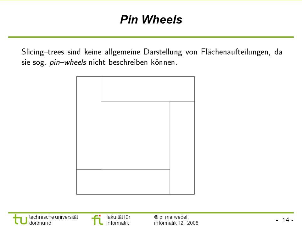 - 14 - technische universität dortmund fakultät für informatik p. marwedel, informatik 12, 2008 TU Dortmund Pin Wheels