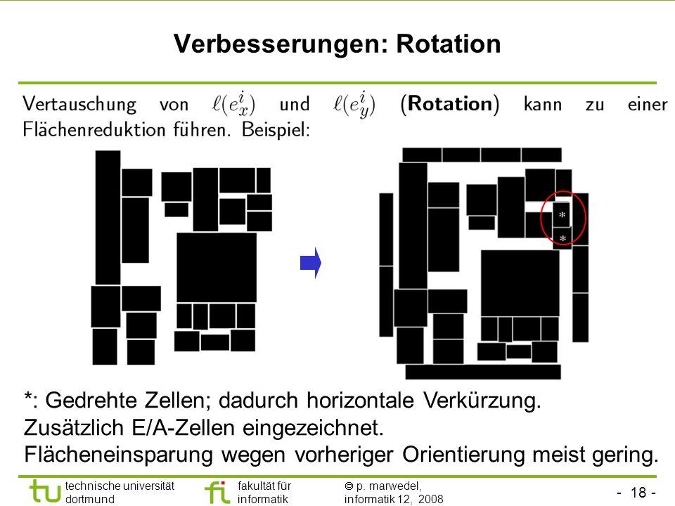 - 18 - technische universität dortmund fakultät für informatik p. marwedel, informatik 12, 2008 TU Dortmund Verbesserungen: Rotation *: Gedrehte Zelle