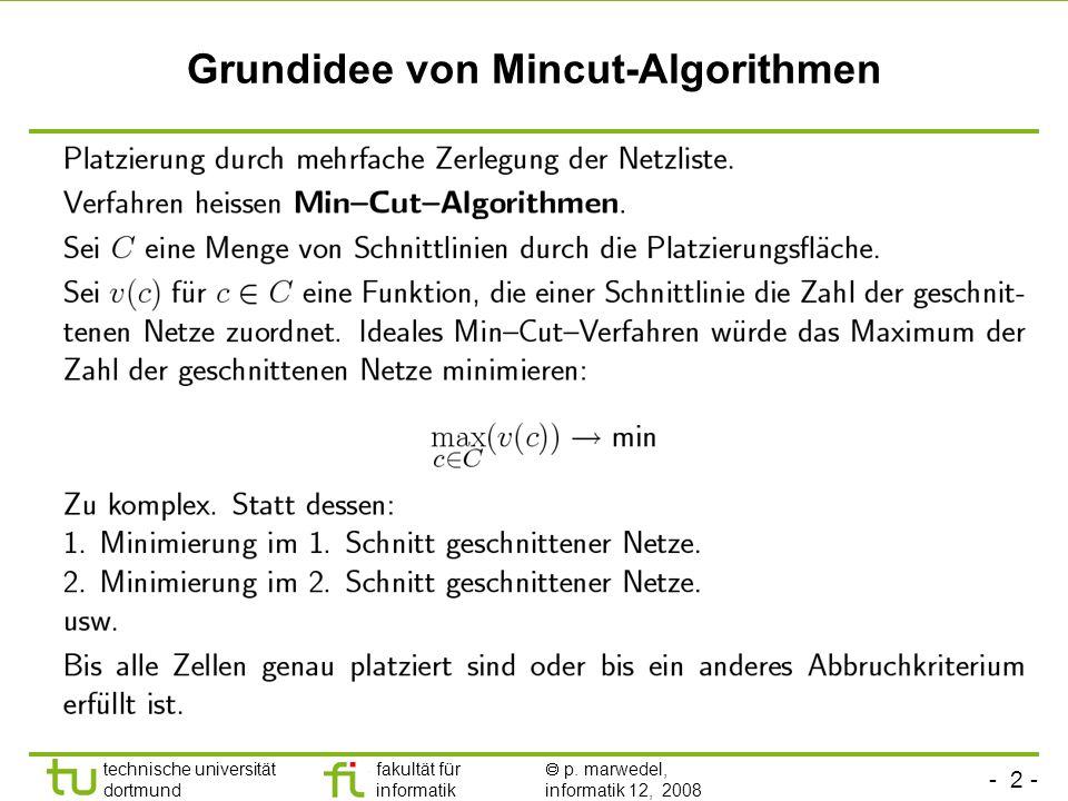 - 2 - technische universität dortmund fakultät für informatik p. marwedel, informatik 12, 2008 TU Dortmund Grundidee von Mincut-Algorithmen