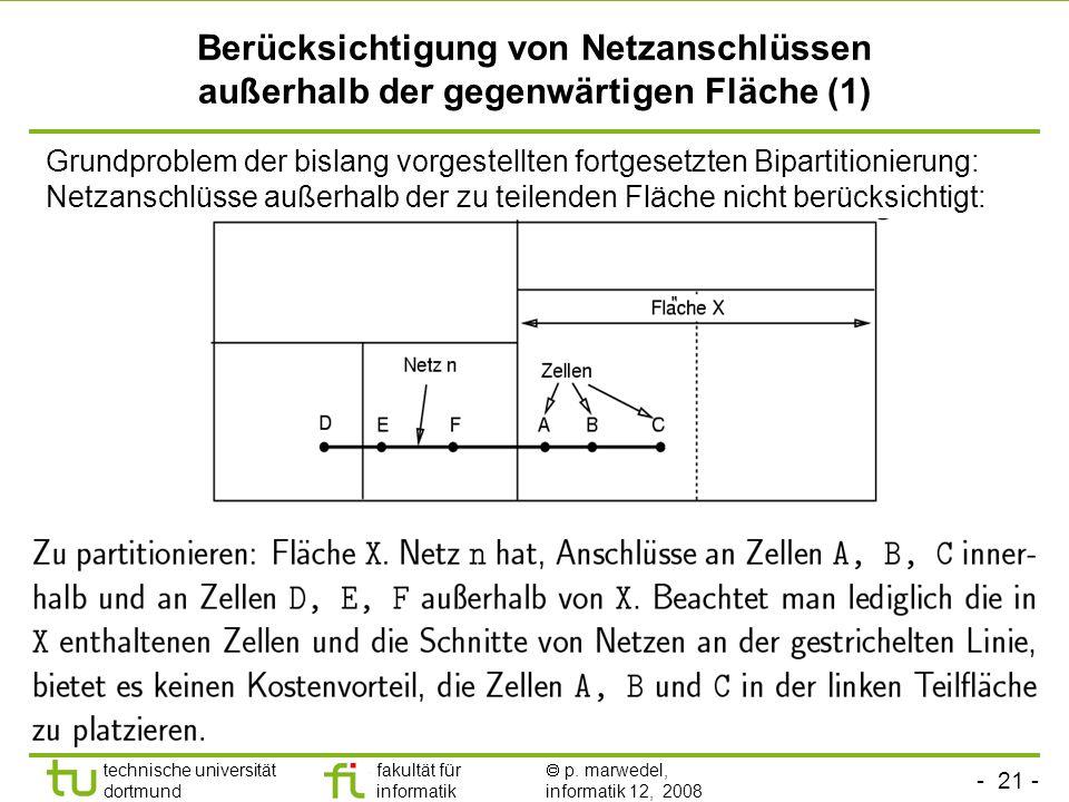 - 21 - technische universität dortmund fakultät für informatik p. marwedel, informatik 12, 2008 TU Dortmund Berücksichtigung von Netzanschlüssen außer