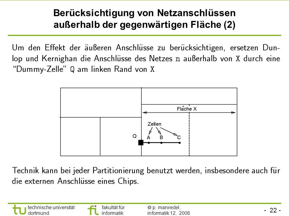 - 22 - technische universität dortmund fakultät für informatik p. marwedel, informatik 12, 2008 TU Dortmund Berücksichtigung von Netzanschlüssen außer