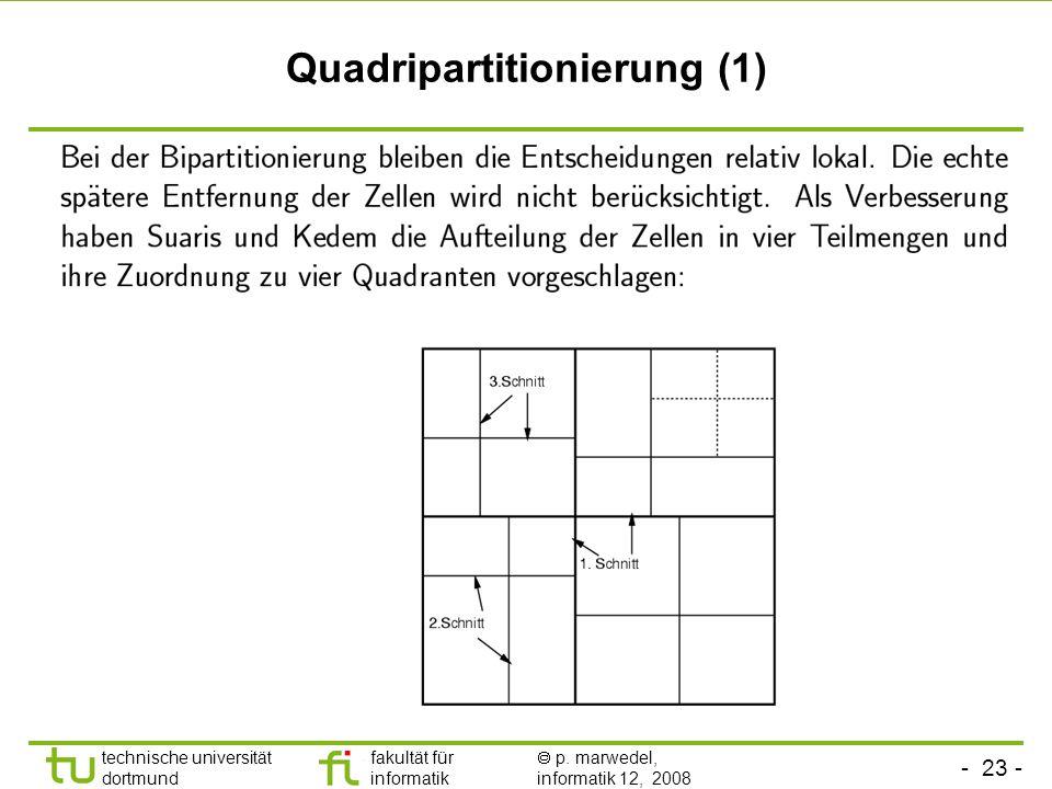 - 23 - technische universität dortmund fakultät für informatik p. marwedel, informatik 12, 2008 TU Dortmund Quadripartitionierung (1)