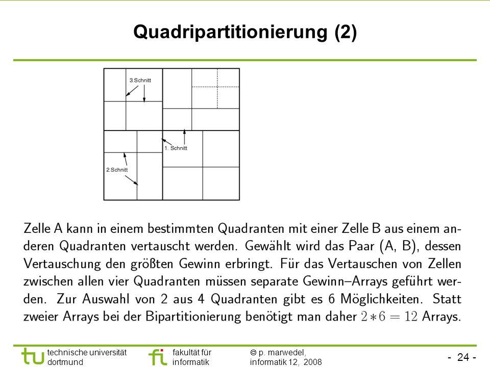 - 24 - technische universität dortmund fakultät für informatik p. marwedel, informatik 12, 2008 TU Dortmund Quadripartitionierung (2)