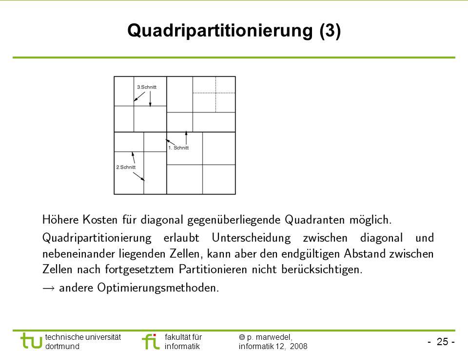 - 25 - technische universität dortmund fakultät für informatik p. marwedel, informatik 12, 2008 TU Dortmund Quadripartitionierung (3)