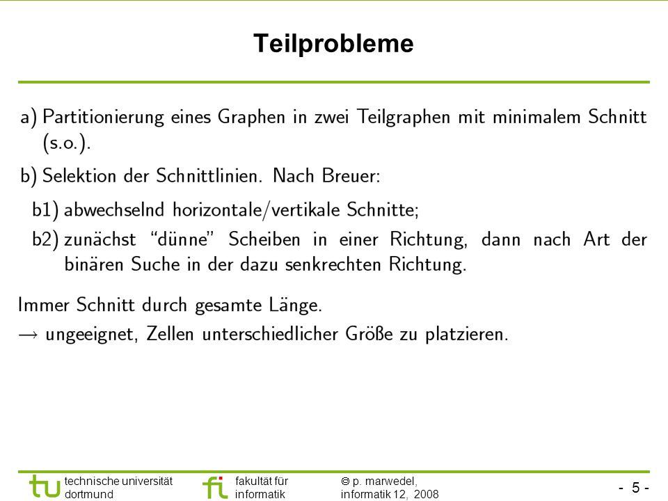- 5 - technische universität dortmund fakultät für informatik p. marwedel, informatik 12, 2008 TU Dortmund Teilprobleme