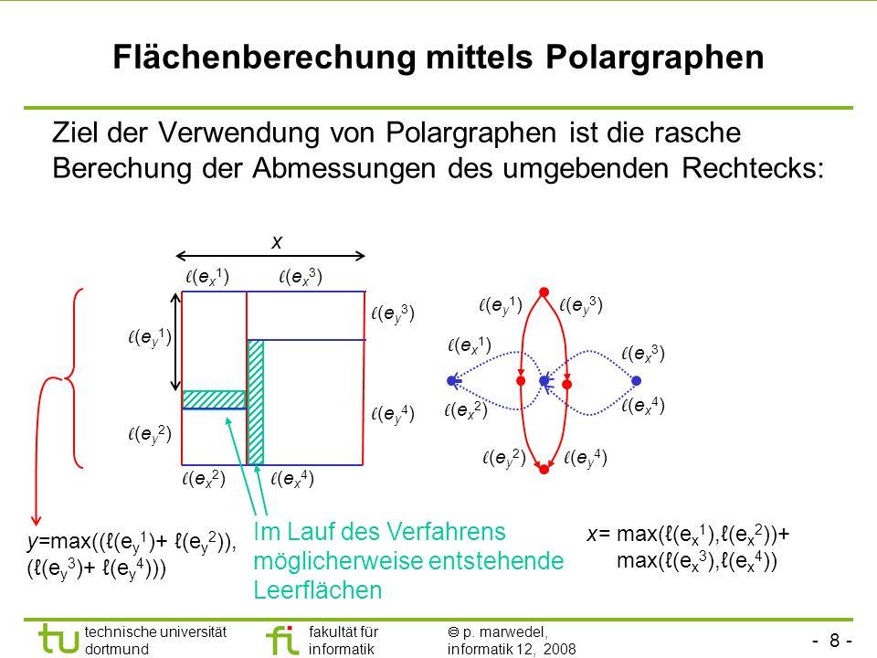 - 8 - technische universität dortmund fakultät für informatik p. marwedel, informatik 12, 2008 TU Dortmund Flächenberechung mittels Polargraphen Ziel