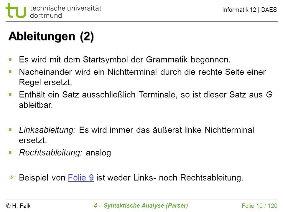 © H. Falk Informatik 12 | DAES 4 – Syntaktische Analyse (Parser) Folie 10 / 120 Ableitungen (2) Es wird mit dem Startsymbol der Grammatik begonnen. Na