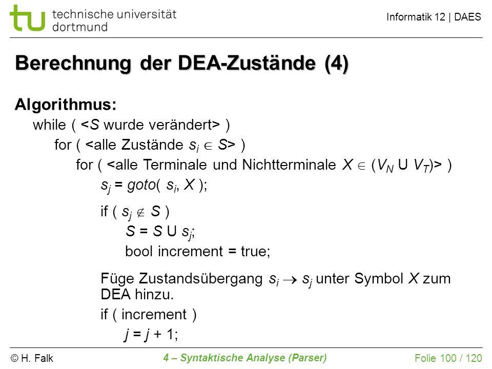 © H. Falk Informatik 12 | DAES 4 – Syntaktische Analyse (Parser) Folie 100 / 120 Berechnung der DEA-Zustände (4) Algorithmus: while ( ) for ( ) s j =