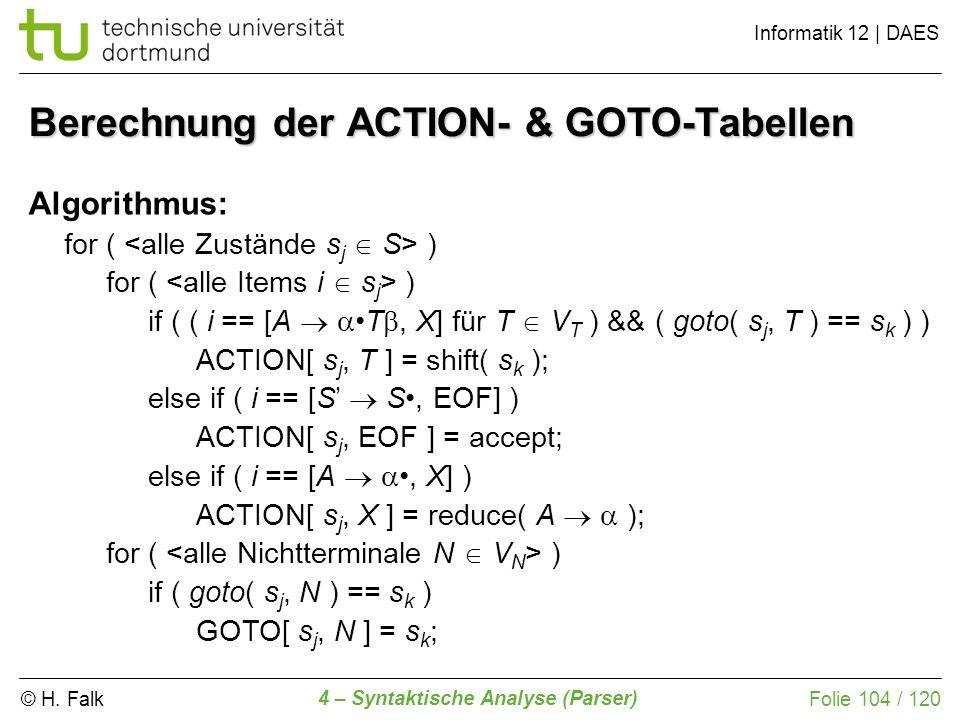 © H. Falk Informatik 12 | DAES 4 – Syntaktische Analyse (Parser) Folie 104 / 120 Berechnung der ACTION- & GOTO-Tabellen Algorithmus: for ( ) if ( ( i