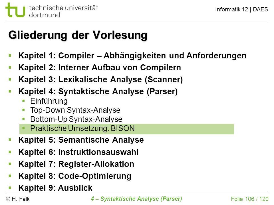 © H. Falk Informatik 12 | DAES 4 – Syntaktische Analyse (Parser) Folie 106 / 120 Gliederung der Vorlesung Kapitel 1: Compiler – Abhängigkeiten und Anf