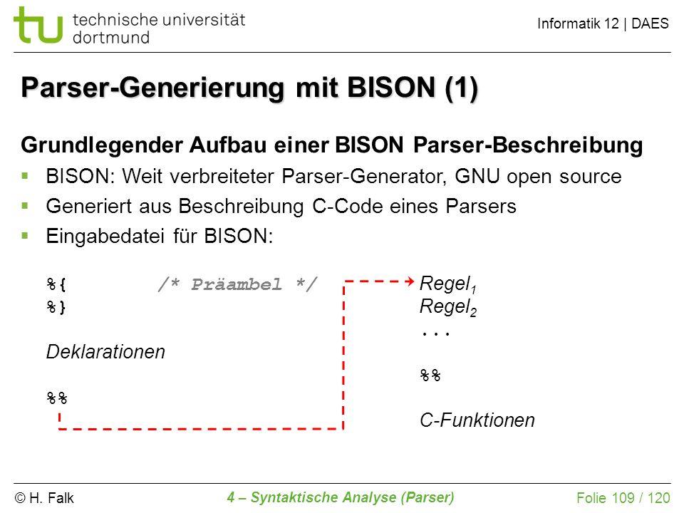 © H. Falk Informatik 12 | DAES 4 – Syntaktische Analyse (Parser) Folie 109 / 120 Grundlegender Aufbau einer BISON Parser-Beschreibung BISON: Weit verb