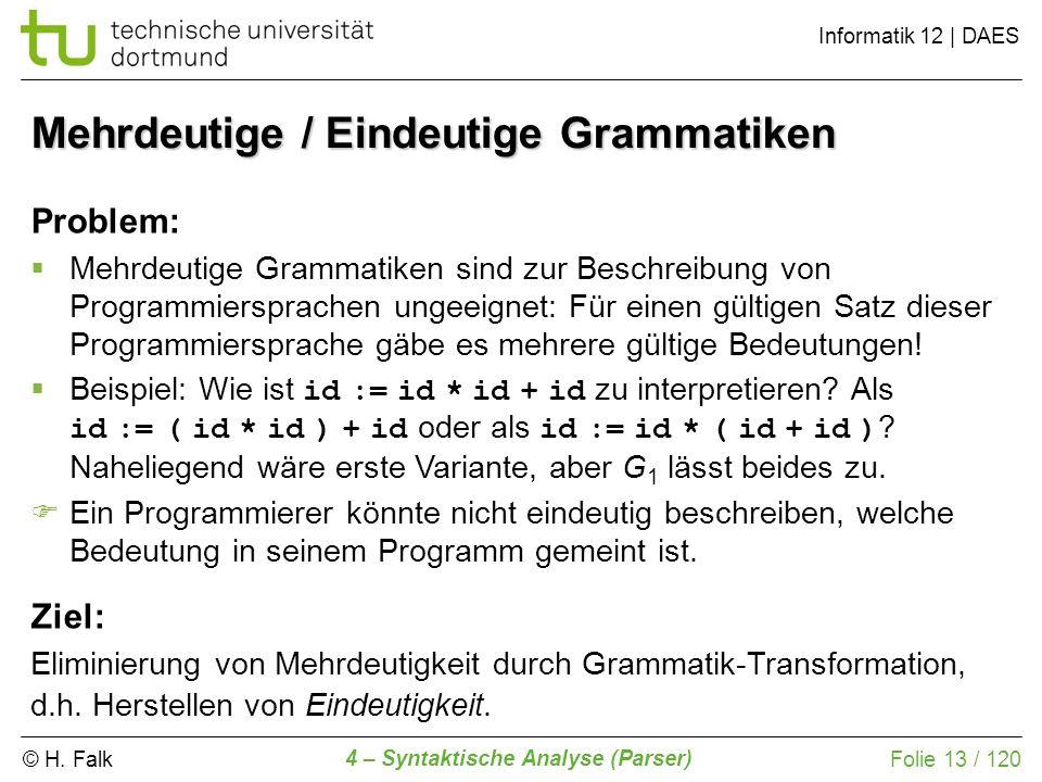 © H. Falk Informatik 12 | DAES 4 – Syntaktische Analyse (Parser) Folie 13 / 120 Mehrdeutige / Eindeutige Grammatiken Problem: Mehrdeutige Grammatiken
