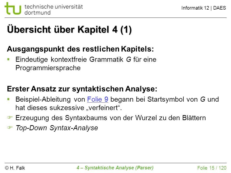 © H. Falk Informatik 12 | DAES 4 – Syntaktische Analyse (Parser) Folie 15 / 120 Übersicht über Kapitel 4 (1) Ausgangspunkt des restlichen Kapitels: Ei