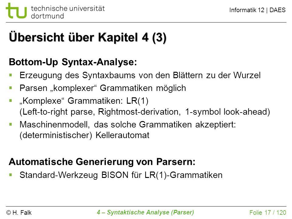 © H. Falk Informatik 12 | DAES 4 – Syntaktische Analyse (Parser) Folie 17 / 120 Übersicht über Kapitel 4 (3) Bottom-Up Syntax-Analyse: Erzeugung des S