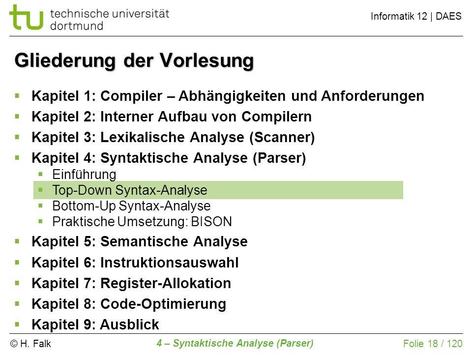 © H. Falk Informatik 12 | DAES 4 – Syntaktische Analyse (Parser) Folie 18 / 120 Gliederung der Vorlesung Kapitel 1: Compiler – Abhängigkeiten und Anfo