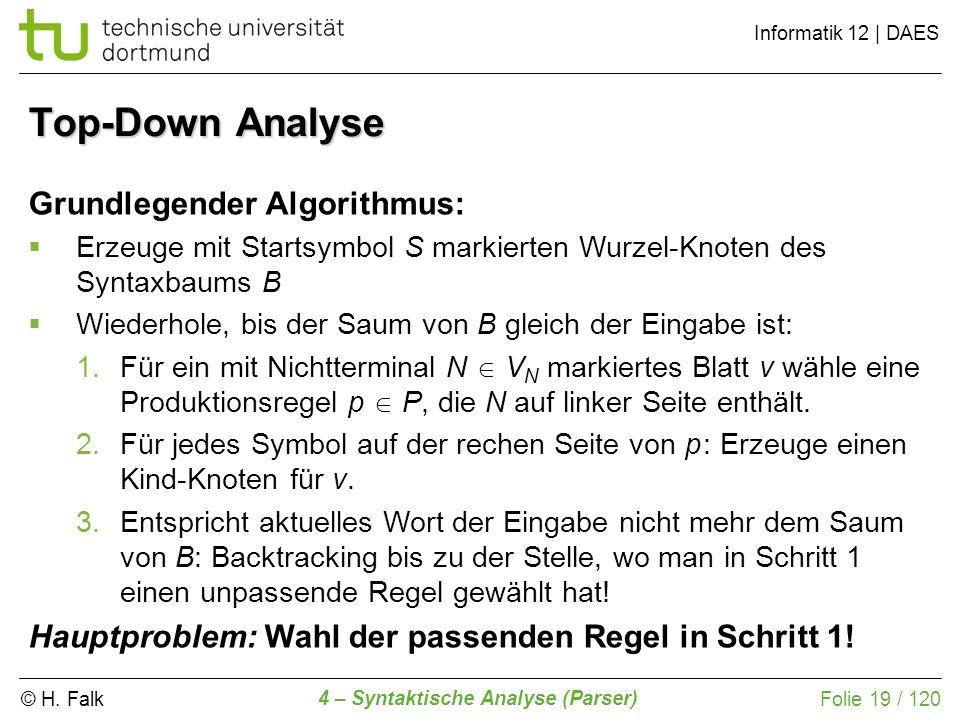 © H. Falk Informatik 12 | DAES 4 – Syntaktische Analyse (Parser) Folie 19 / 120 Top-Down Analyse Grundlegender Algorithmus: Erzeuge mit Startsymbol S