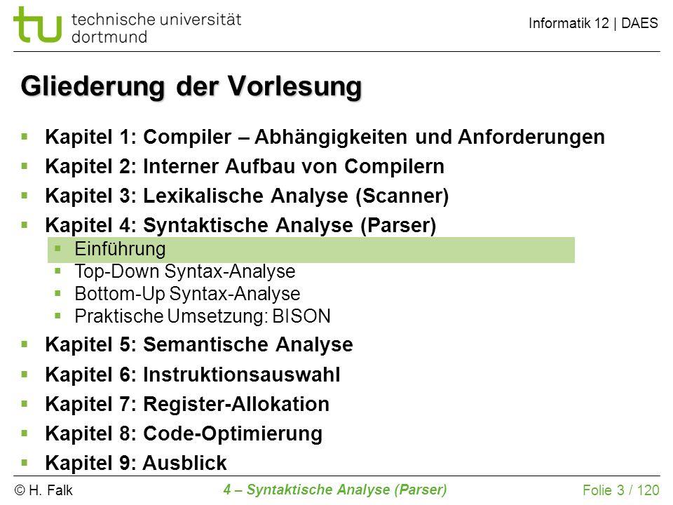 © H. Falk Informatik 12 | DAES 4 – Syntaktische Analyse (Parser) Folie 3 / 120 Gliederung der Vorlesung Kapitel 1: Compiler – Abhängigkeiten und Anfor