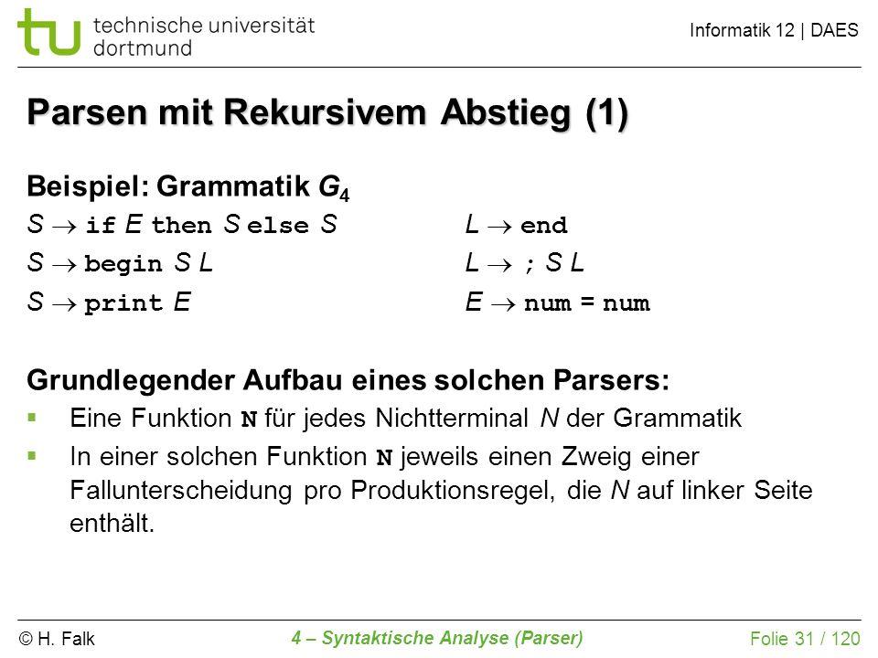 © H. Falk Informatik 12 | DAES 4 – Syntaktische Analyse (Parser) Folie 31 / 120 Parsen mit Rekursivem Abstieg (1) Beispiel: Grammatik G 4 S if E then