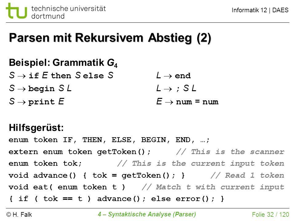 © H. Falk Informatik 12 | DAES 4 – Syntaktische Analyse (Parser) Folie 32 / 120 Parsen mit Rekursivem Abstieg (2) Beispiel: Grammatik G 4 S if E then