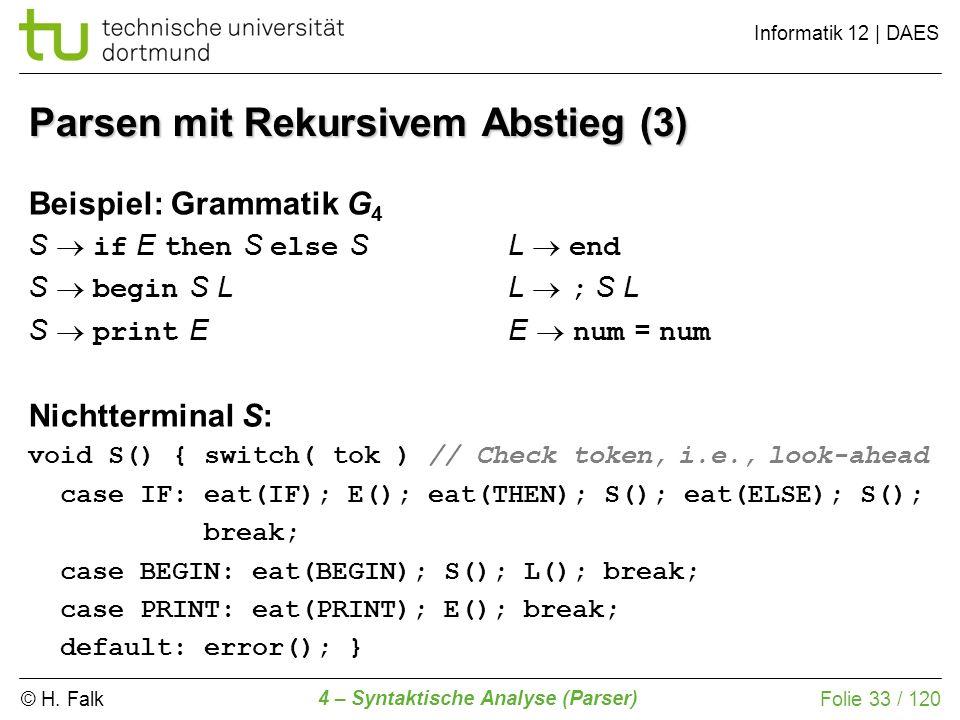 © H. Falk Informatik 12 | DAES 4 – Syntaktische Analyse (Parser) Folie 33 / 120 Parsen mit Rekursivem Abstieg (3) Beispiel: Grammatik G 4 S if E then