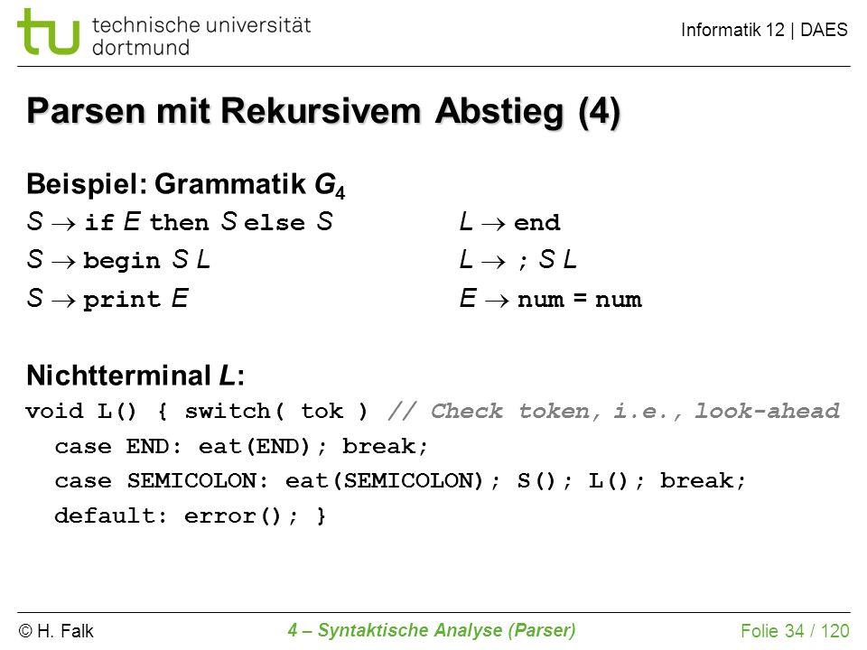© H. Falk Informatik 12 | DAES 4 – Syntaktische Analyse (Parser) Folie 34 / 120 Parsen mit Rekursivem Abstieg (4) Beispiel: Grammatik G 4 S if E then