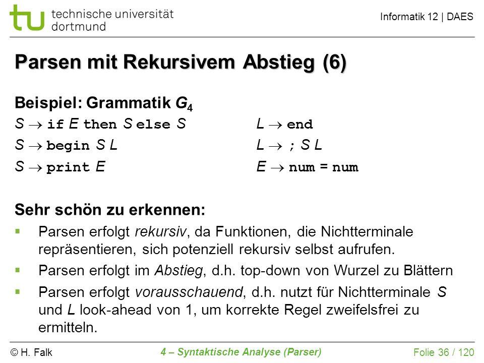 © H. Falk Informatik 12 | DAES 4 – Syntaktische Analyse (Parser) Folie 36 / 120 Parsen mit Rekursivem Abstieg (6) Beispiel: Grammatik G 4 S if E then