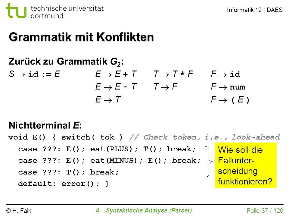 © H. Falk Informatik 12 | DAES 4 – Syntaktische Analyse (Parser) Folie 37 / 120 Grammatik mit Konflikten Zurück zu Grammatik G 2 : S id := EE E + TT T