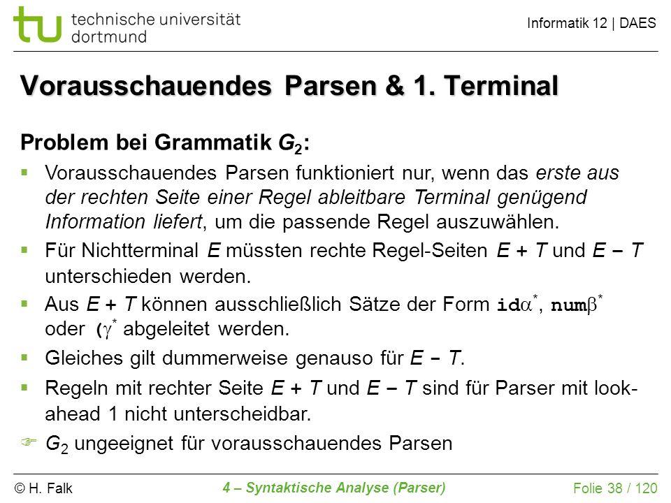 © H. Falk Informatik 12 | DAES 4 – Syntaktische Analyse (Parser) Folie 38 / 120 Vorausschauendes Parsen & 1. Terminal Problem bei Grammatik G 2 : Vora