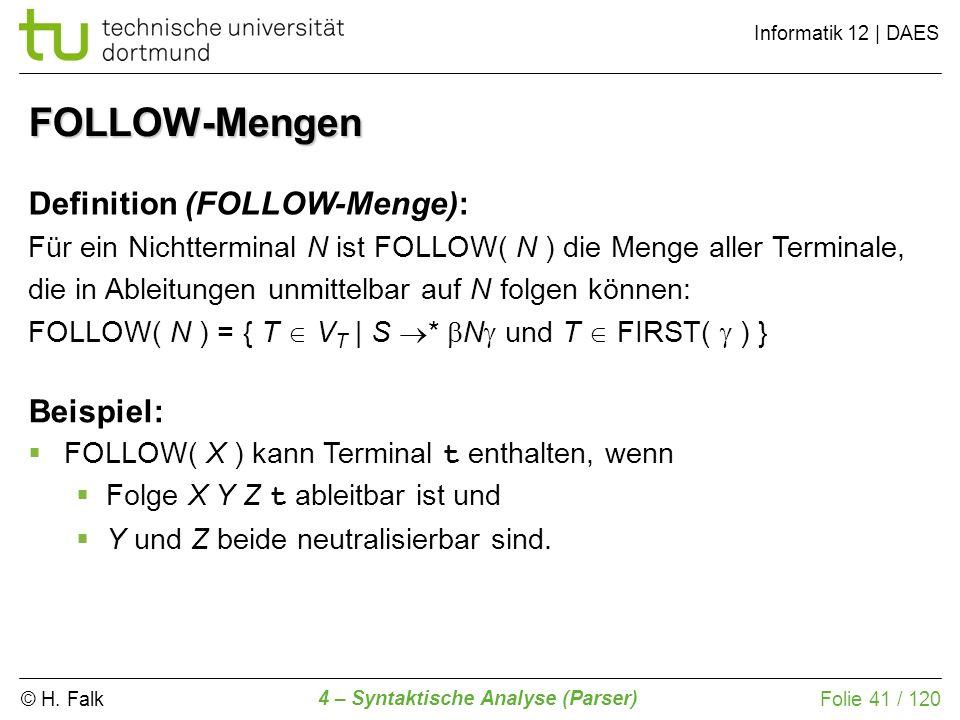 © H. Falk Informatik 12 | DAES 4 – Syntaktische Analyse (Parser) Folie 41 / 120 FOLLOW-Mengen Definition (FOLLOW-Menge): Für ein Nichtterminal N ist F
