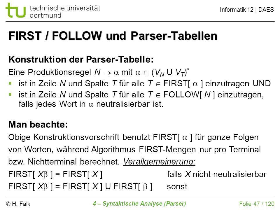 © H. Falk Informatik 12 | DAES 4 – Syntaktische Analyse (Parser) Folie 47 / 120 FIRST / FOLLOW und Parser-Tabellen Konstruktion der Parser-Tabelle: Ei