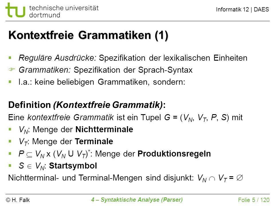 © H. Falk Informatik 12 | DAES 4 – Syntaktische Analyse (Parser) Folie 5 / 120 Kontextfreie Grammatiken (1) Definition (Kontextfreie Grammatik): Eine