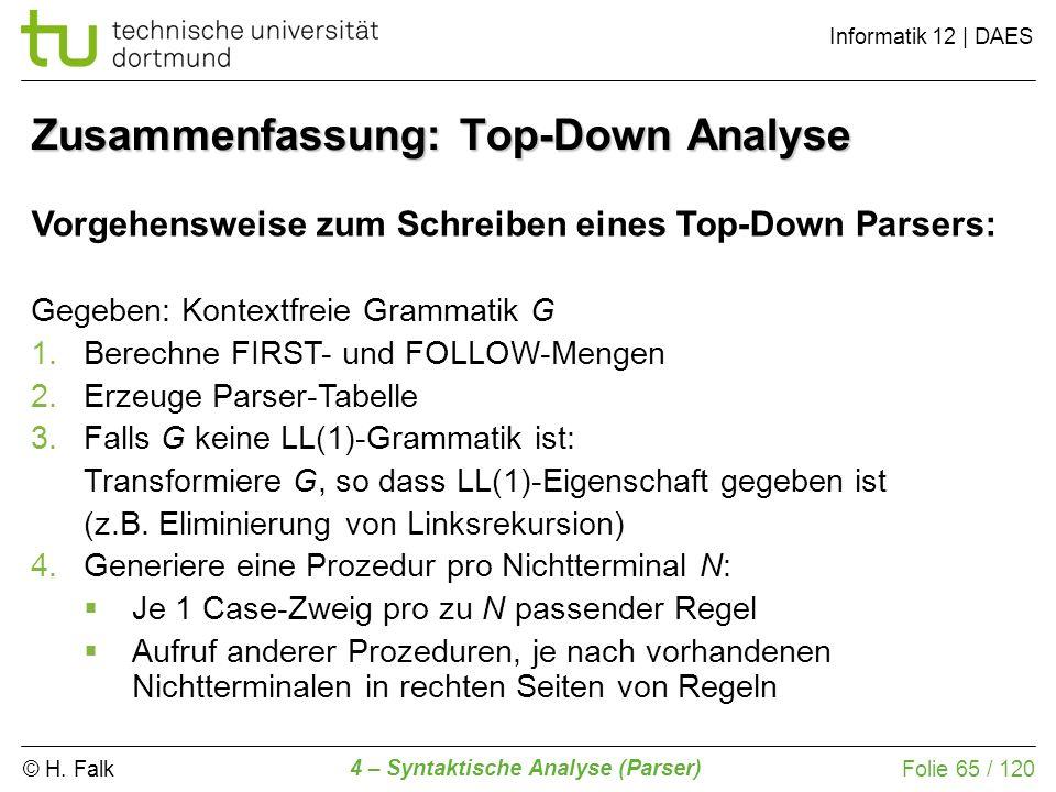 © H. Falk Informatik 12 | DAES 4 – Syntaktische Analyse (Parser) Folie 65 / 120 Zusammenfassung: Top-Down Analyse Vorgehensweise zum Schreiben eines T