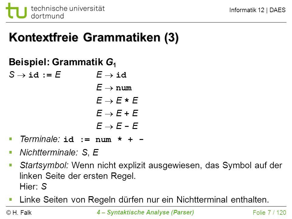 © H. Falk Informatik 12 | DAES 4 – Syntaktische Analyse (Parser) Folie 7 / 120 Kontextfreie Grammatiken (3) Terminale: id := num * + - Nichtterminale: