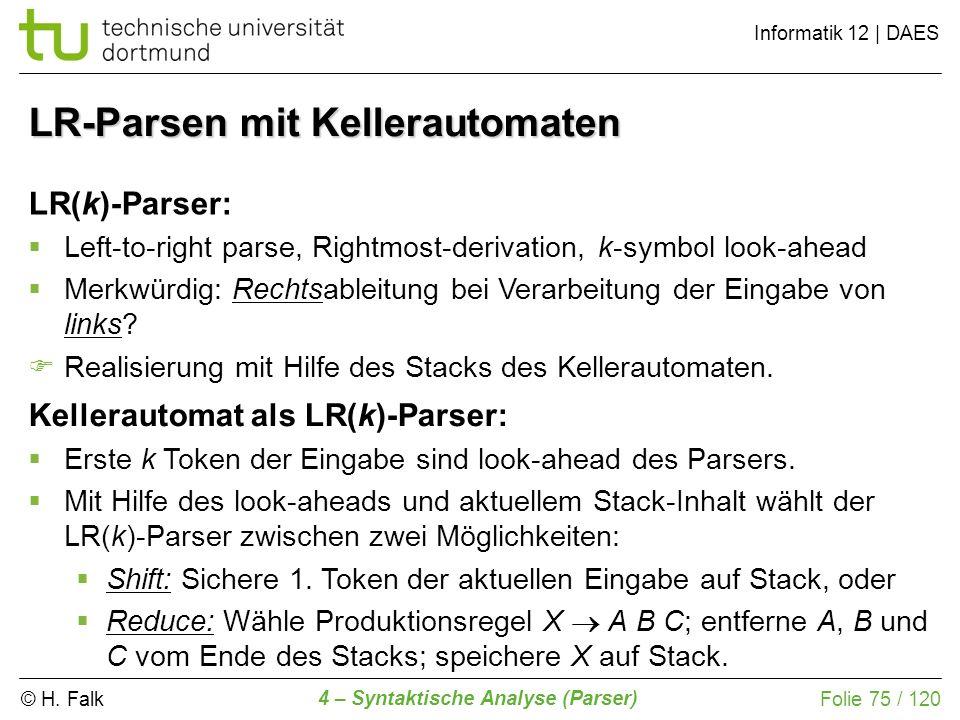 © H. Falk Informatik 12 | DAES 4 – Syntaktische Analyse (Parser) Folie 75 / 120 LR-Parsen mit Kellerautomaten LR(k)-Parser: Left-to-right parse, Right
