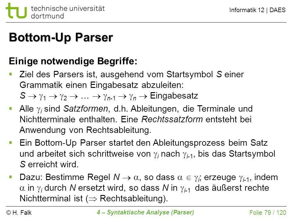 © H. Falk Informatik 12 | DAES 4 – Syntaktische Analyse (Parser) Folie 79 / 120 Bottom-Up Parser Einige notwendige Begriffe: Ziel des Parsers ist, aus