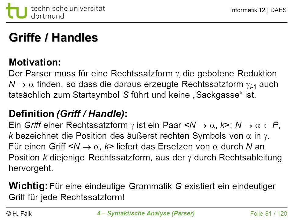 © H. Falk Informatik 12 | DAES 4 – Syntaktische Analyse (Parser) Folie 81 / 120 Griffe / Handles Motivation: Der Parser muss für eine Rechtssatzform i