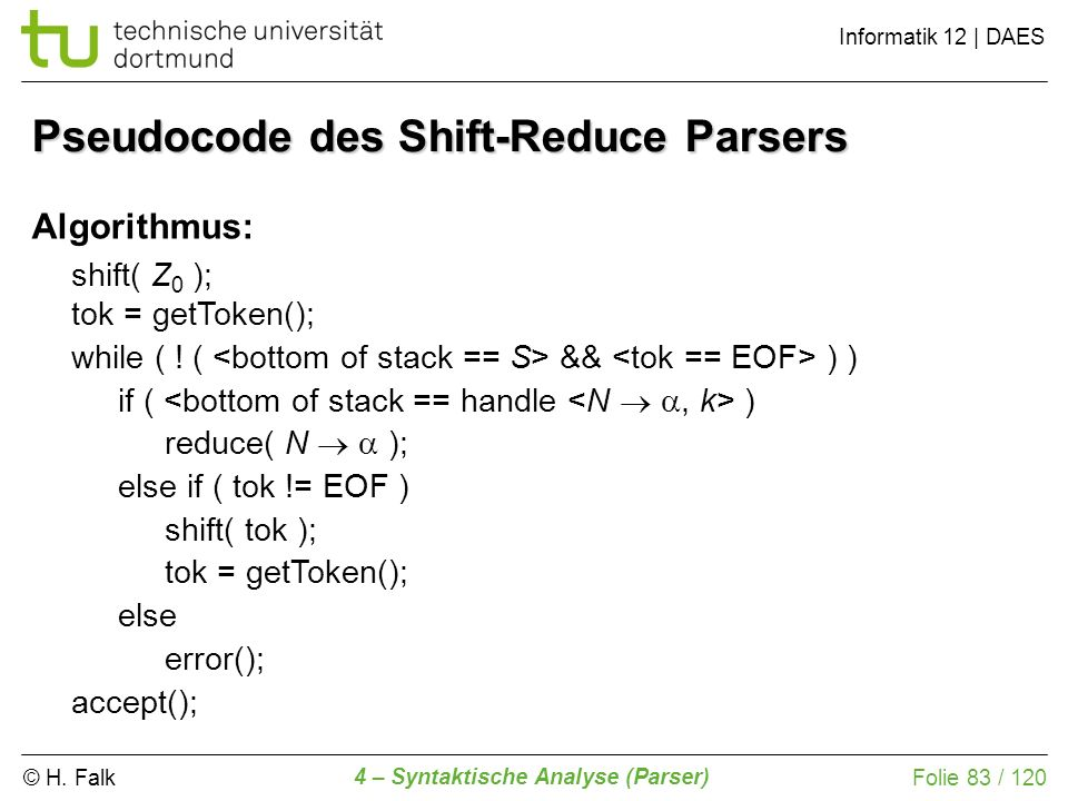 © H. Falk Informatik 12 | DAES 4 – Syntaktische Analyse (Parser) Folie 83 / 120 Pseudocode des Shift-Reduce Parsers Algorithmus: shift( Z 0 ); tok = g
