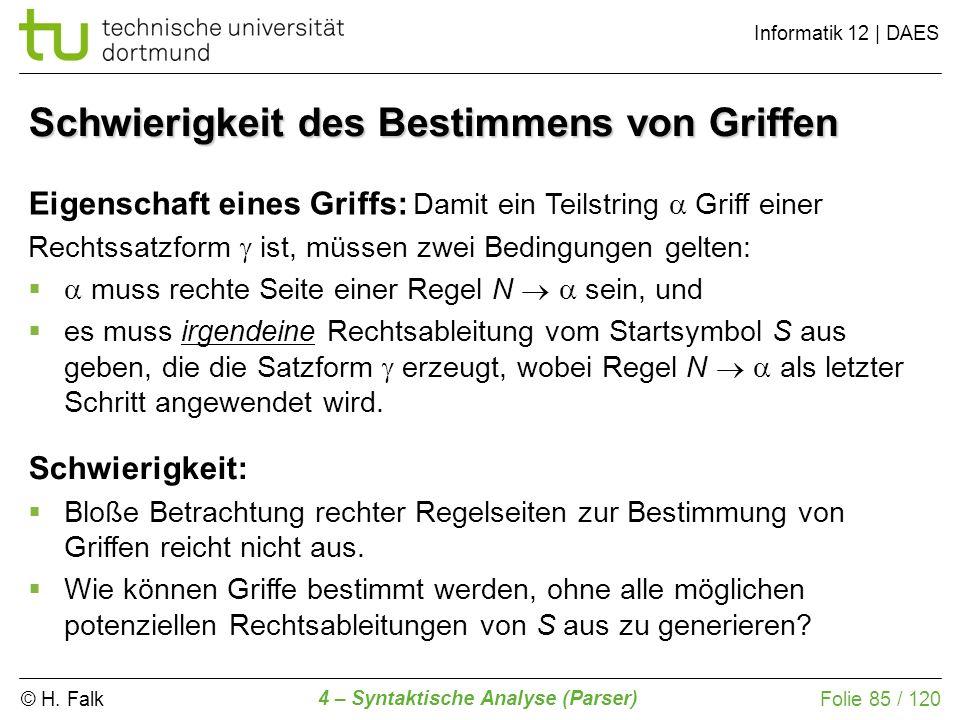 © H. Falk Informatik 12 | DAES 4 – Syntaktische Analyse (Parser) Folie 85 / 120 Schwierigkeit des Bestimmens von Griffen Eigenschaft eines Griffs: Dam