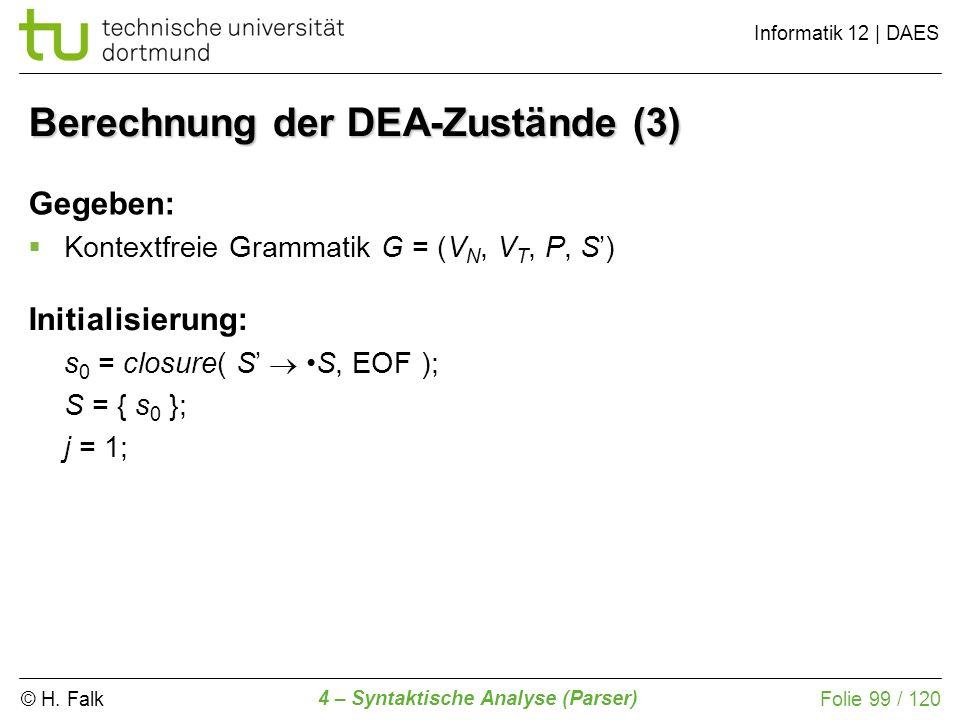 © H. Falk Informatik 12 | DAES 4 – Syntaktische Analyse (Parser) Folie 99 / 120 Berechnung der DEA-Zustände (3) Initialisierung: s 0 = closure( S S, E