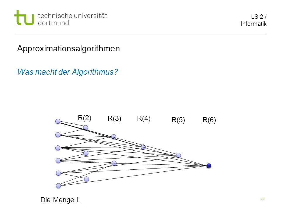 LS 2 / Informatik 23 Approximationsalgorithmen Was macht der Algorithmus? Die Menge L R(2) R(3)R(4) R(5)R(6)