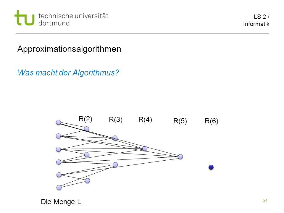 LS 2 / Informatik 24 Approximationsalgorithmen Was macht der Algorithmus? Die Menge L R(2) R(3)R(4) R(5)R(6)