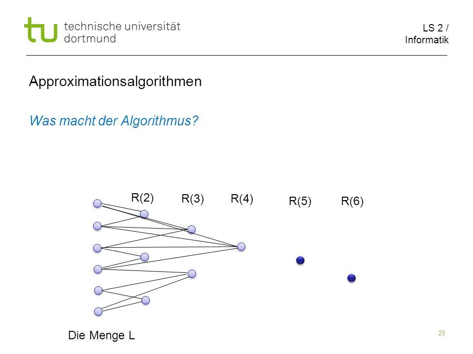 LS 2 / Informatik 25 Approximationsalgorithmen Was macht der Algorithmus? Die Menge L R(2) R(3)R(4) R(5)R(6)