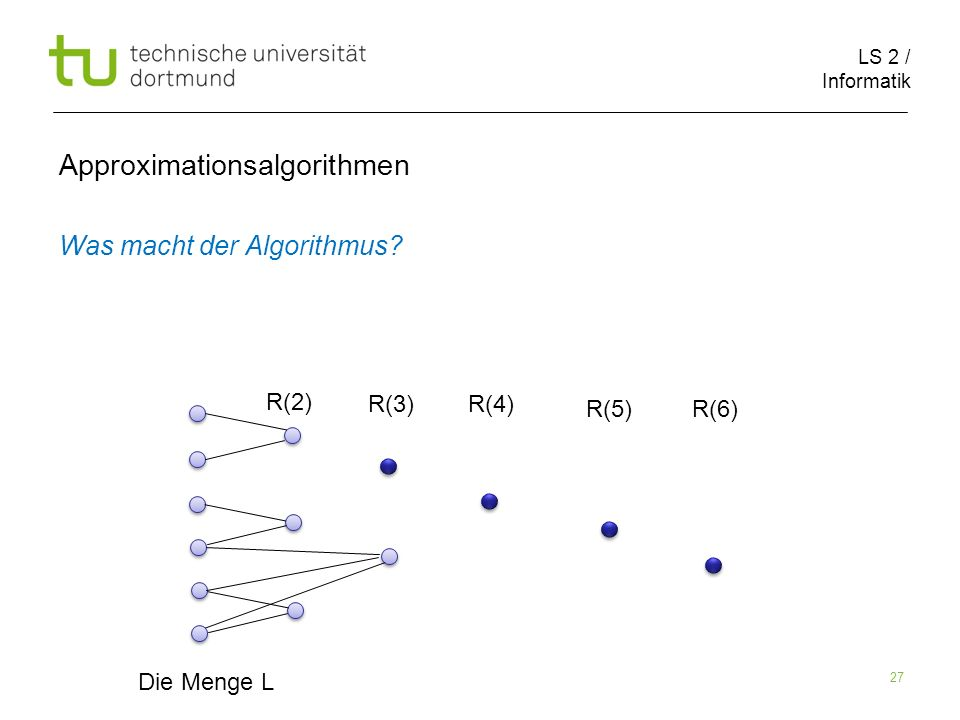 LS 2 / Informatik 27 Approximationsalgorithmen Was macht der Algorithmus? Die Menge L R(2) R(3)R(4) R(5)R(6)
