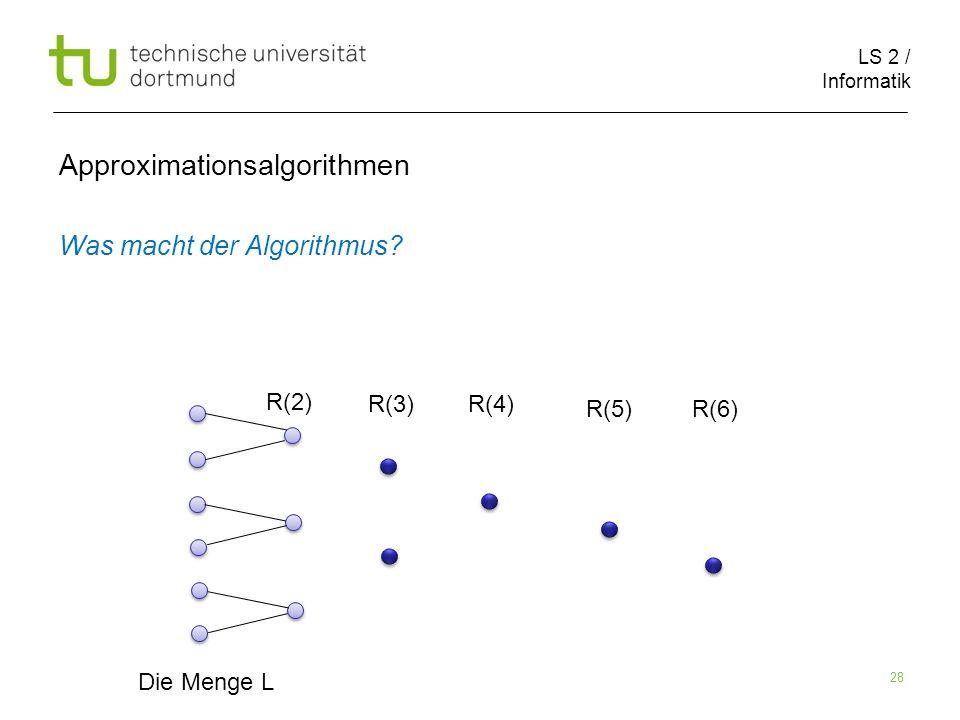 LS 2 / Informatik 28 Approximationsalgorithmen Was macht der Algorithmus? Die Menge L R(2) R(3)R(4) R(5)R(6)