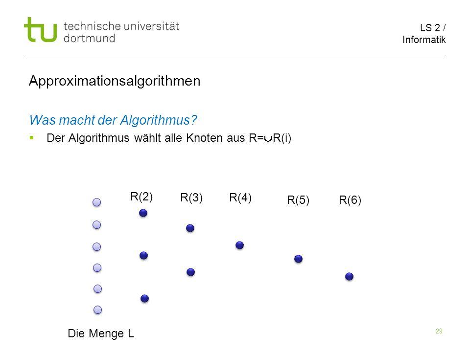 LS 2 / Informatik 29 Approximationsalgorithmen Was macht der Algorithmus? Der Algorithmus wählt alle Knoten aus R= R(i) Die Menge L R(2) R(3)R(4) R(5)
