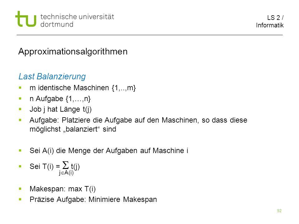 LS 2 / Informatik 92 Last Balanzierung m identische Maschinen {1,..,m} n Aufgabe {1,…,n} Job j hat Länge t(j) Aufgabe: Platziere die Aufgabe auf den M