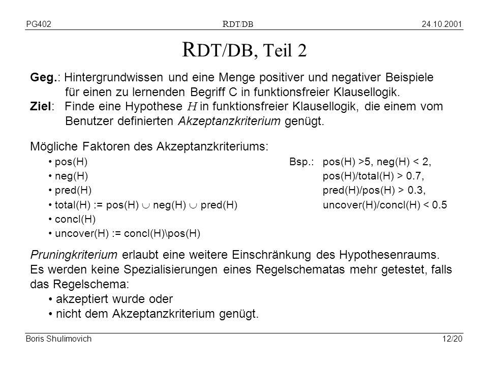24.10.2001PG402 R DT/DB Boris Shulimovich12/20 R DT/DB, Teil 2 Geg.: Hintergrundwissen und eine Menge positiver und negativer Beispiele für einen zu lernenden Begriff C in funktionsfreier Klausellogik.
