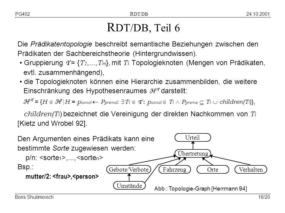 24.10.2001PG402 R DT/DB Boris Shulimovich16/20 R DT/DB, Teil 6 Die Prädikatentopologie beschreibt semantische Beziehungen zwischen den Prädikaten der Sachbereichstheorie (Hintergrundwissen).