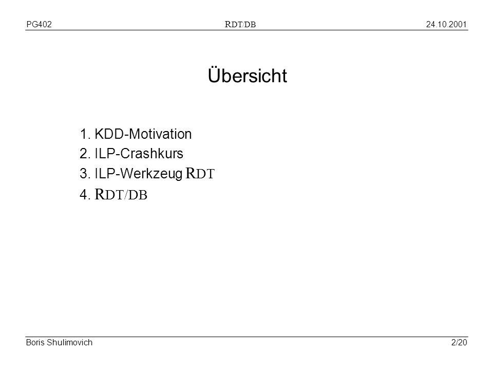 24.10.2001PG402 R DT/DB Boris Shulimovich2/20 Übersicht 1. KDD-Motivation 2. ILP-Crashkurs 3. ILP-Werkzeug R DT 4. R DT/DB